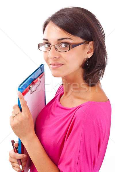 Kadın öğrenci yalıtılmış beyaz gülümseme mutlu Stok fotoğraf © grafvision