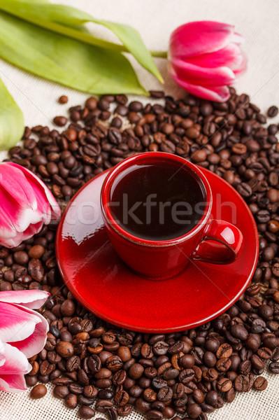 Кубок кофе красный тюльпаны весны любви Сток-фото © grafvision