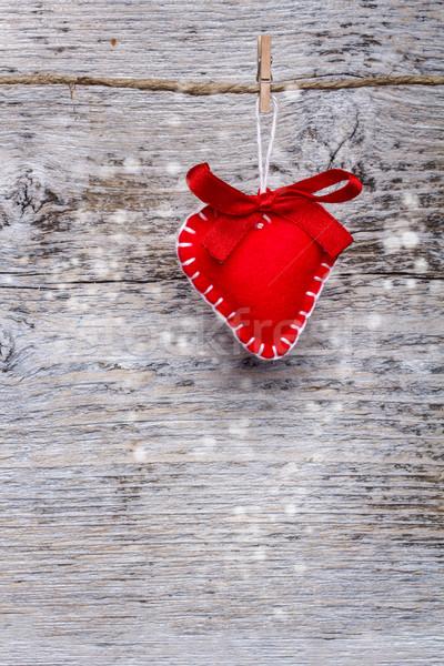 Stockfoto: Rood · hart · liefde · achtergrond · retro · touw