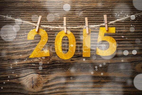 2015 capodanno numero decorazione legno inverno Foto d'archivio © grafvision