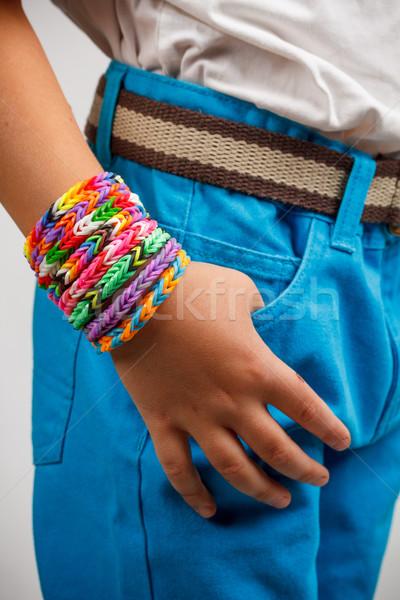 браслет молодые моде стороны дети оранжевый Сток-фото © grafvision