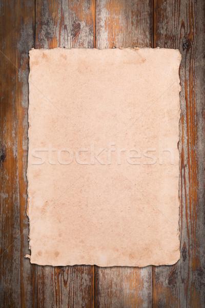 Pergaminho Antigo Madeira Fundo Imprimir Foto Stock