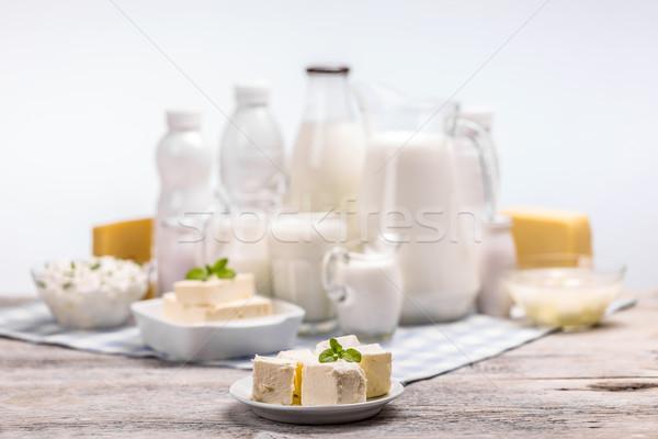 Csendélet tejtermékek fából készült üveg friss kunyhó Stock fotó © grafvision