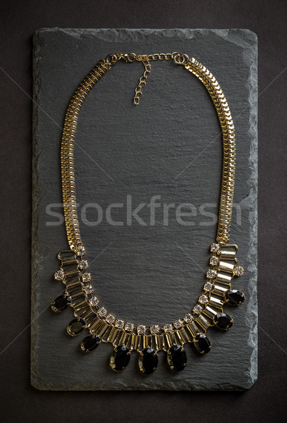 Collier noir pierres haut vue mode Photo stock © grafvision