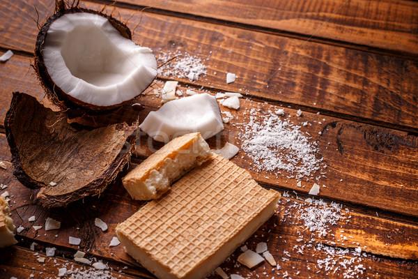 自家製 チョコレート 木製 ケーキ 白 ストックフォト © grafvision