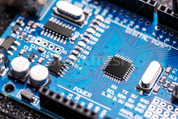Geïntegreerd microchip microprocessor Blauw circuit board computer Stockfoto © grafvision