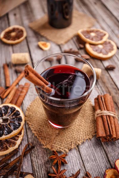 Sıcak şarap turuncu dilimleri anason tarçın Stok fotoğraf © grafvision