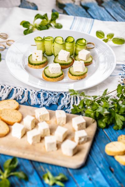 イタリア語 焼いた ガーリックブレッド キュウリ フェタチーズ 食品 ストックフォト © grafvision