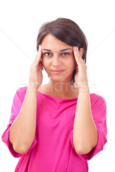 ストックフォト: 女性 · 頭痛 · 孤立した · 白 · 医療 · 髪