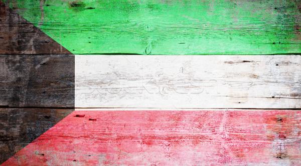 Bandiera Kuwait verniciato legno Foto d'archivio © grafvision