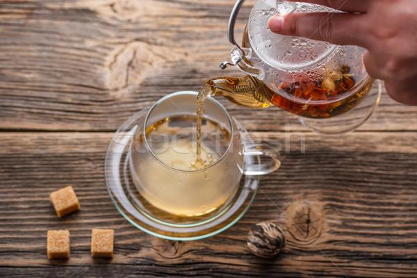 Virágzó tea forró üveg teáscsésze virág Stock fotó © grafvision