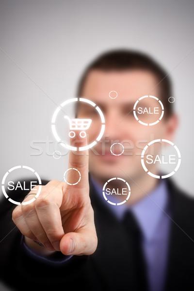 Futurisztikus digitális technológia üzletember kisajtolás bevásárlókocsi gomb Stock fotó © grafvision