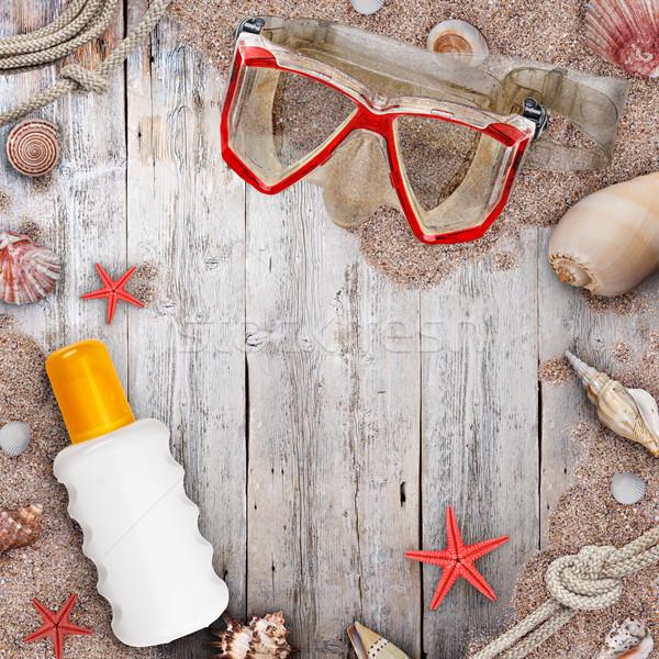 Tengerpart kellékek tengeri csillag kagyló természet keret Stock fotó © grafvision