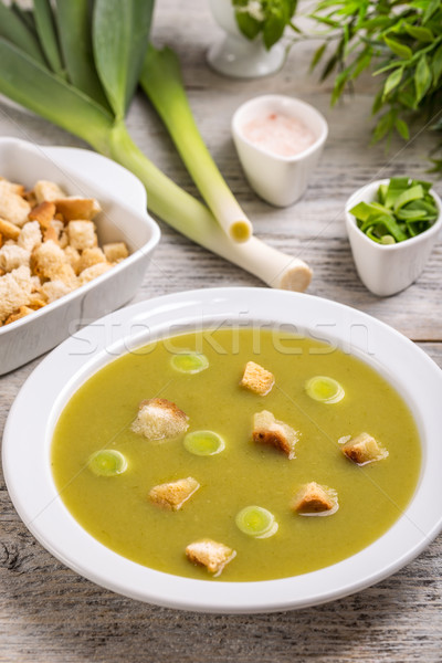 Prei aardappelsoep klassiek voedsel groene witte Stockfoto © grafvision