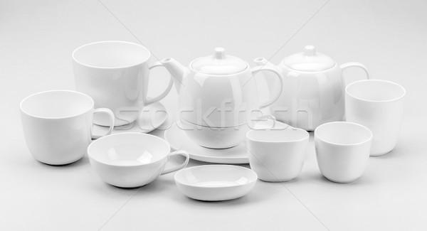 çay fincanı demlik büyük bir grup beyaz dizayn arka plan Stok fotoğraf © grafvision