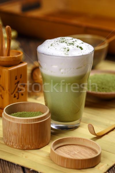 Yeşil çay cam fincan yeşil içmek çay Stok fotoğraf © grafvision