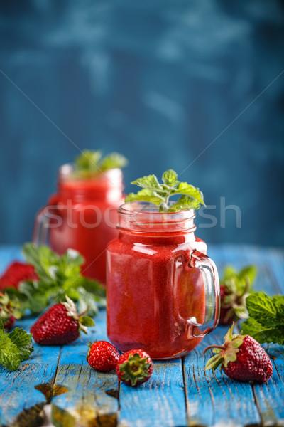 Stock fotó: Eper · smoothie · kék · egészséges · étel · reggeli · falatozó