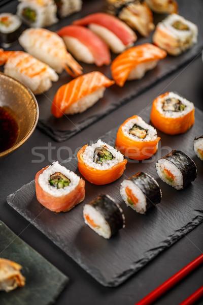 Сток-фото: Японский · вкусный · суши · набор · черный · продовольствие