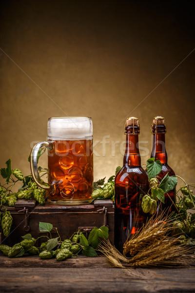 Bier brouwerij hop rustiek stijl glas Stockfoto © grafvision