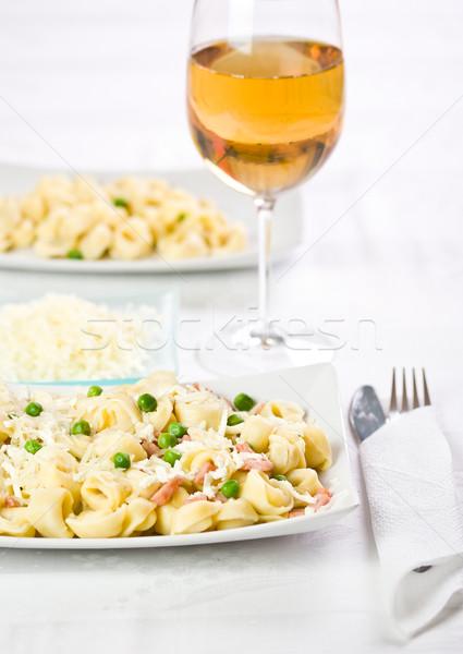 トルテッリーニ エンドウ ベーコン ワイン 準備 ストックフォト © grafvision