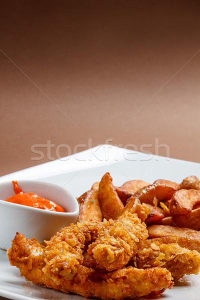 Croccante petto di pollo salsa alimentare ristorante Foto d'archivio © grafvision