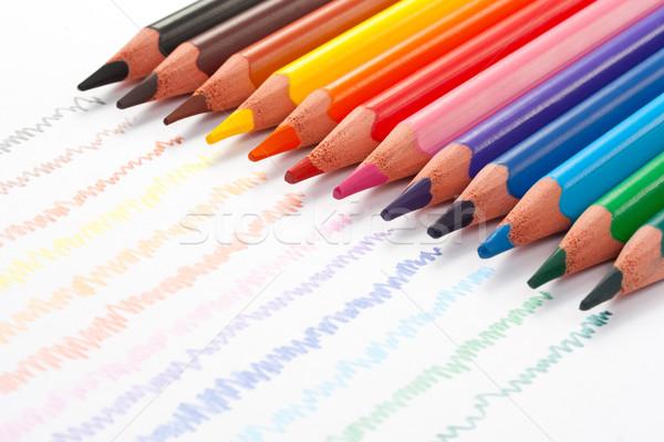 ストックフォト: 色 · 鉛筆 · 作業 · オレンジ · 楽しい · 赤