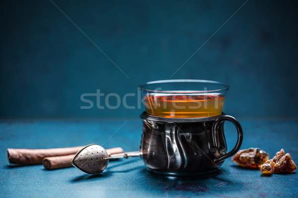 Turks thee traditioneel glas beker achtergrond Stockfoto © grafvision