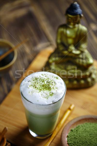 Chá verde vidro mesa de madeira beber leite chá Foto stock © grafvision