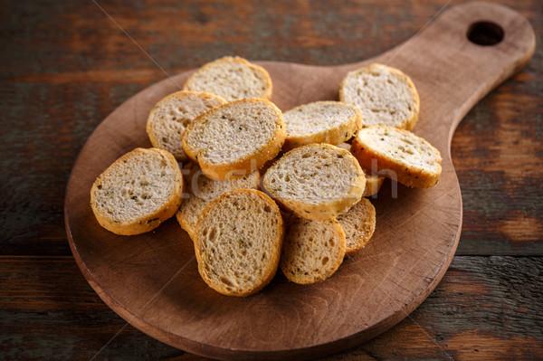 хрустящий Ломтики разделочная доска пшеницы завтрак Сток-фото © grafvision
