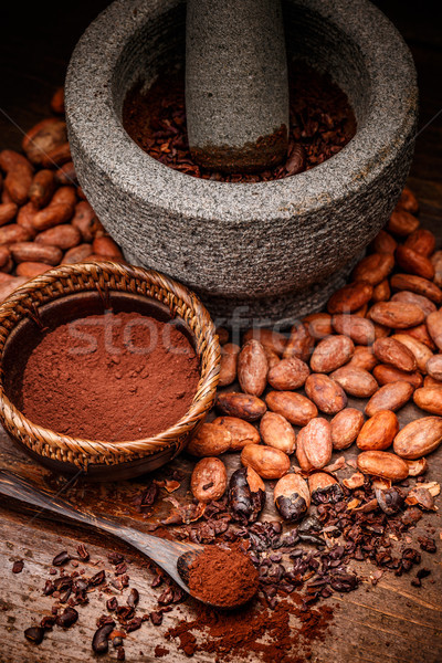 какао бобов ложку продовольствие каменные Сток-фото © grafvision