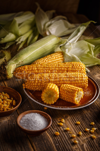 Boiled corn with salt Stock photo © grafvision