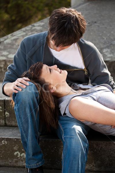 çift portre genç sevmek oturma birlikte Stok fotoğraf © grafvision