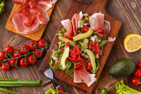 Салат ветчиной свежие овощи разделочная доска таблице Сток-фото © grafvision