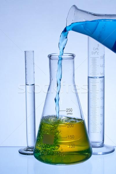 лаборатория изделия из стекла химического оборудование цвета жидкость Сток-фото © grafvision