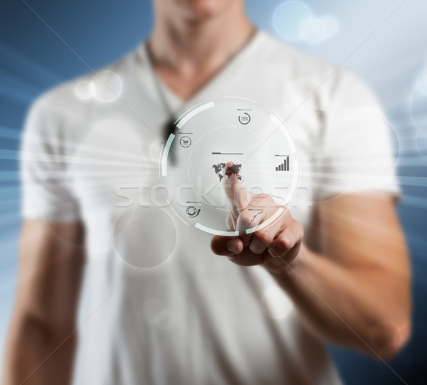 Stockfoto: Interface · hand · voortvarend · scherm · software