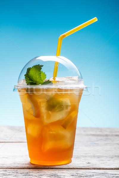 Taze buzlu çay plastik cam saman meyve Stok fotoğraf © grafvision
