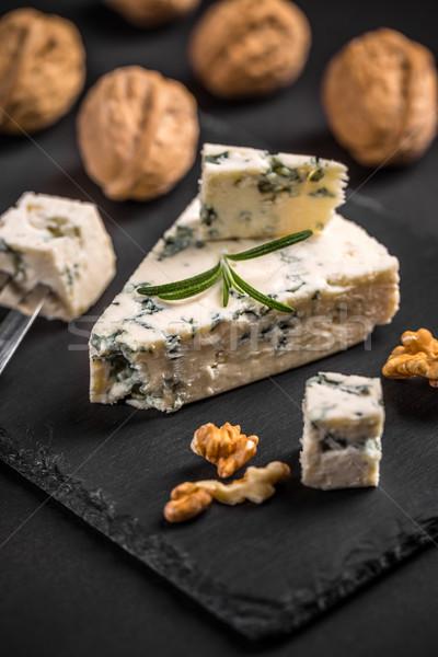 ブルーチーズ 黒 食品 背景 チーズ フォーク ストックフォト © grafvision