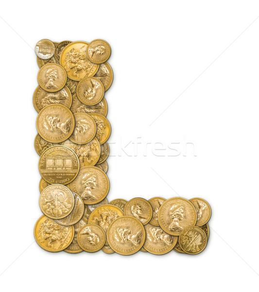 Letter l gouden munten geld geïsoleerd witte metaal Stockfoto © grafvision