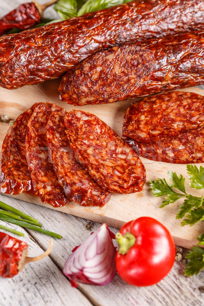 Fatias salame salsicha verde carne pimenta Foto stock © grafvision