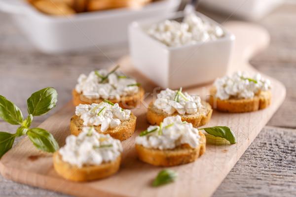 Requesón bruschetta simple alimentos pan Foto stock © grafvision