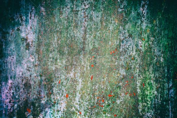 Rozsdás fémes rongyos öreg festék korrózió Stock fotó © grafvision