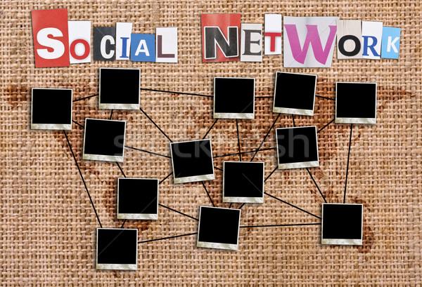 ストックフォト: 社会的ネットワーク · 写真 · フレーム · キャンバス · 地図 · フレーム