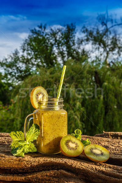 Frescos casero kiwi zalamero saludable orgánico Foto stock © grafvision