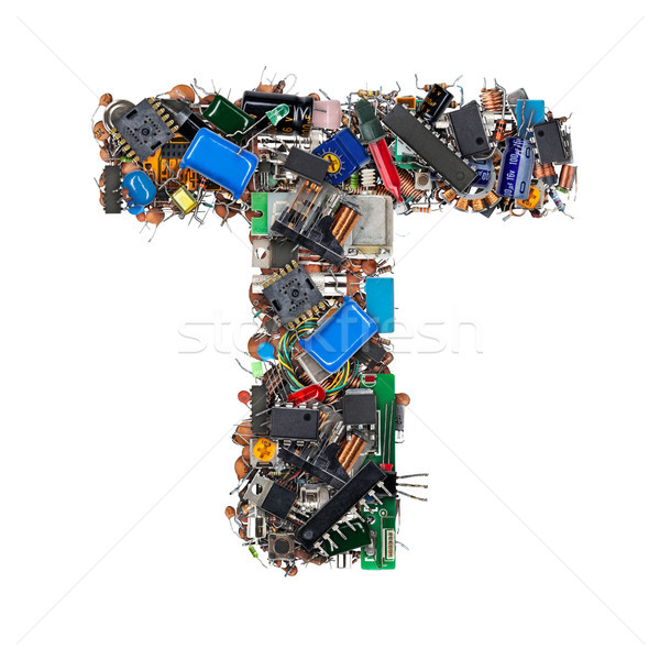 Letter T made of electronic components Stock photo © grafvision