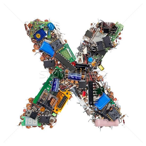 Levél elektronikus alkotóelemek izolált fehér technológia Stock fotó © grafvision