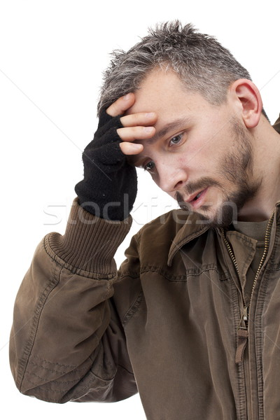 Retrato triste homem isolado branco cara Foto stock © grafvision