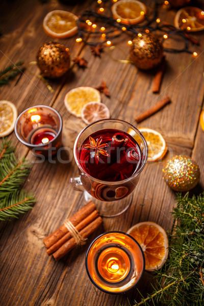 Vidrio caliente vino tinto especias Navidad vino Foto stock © grafvision