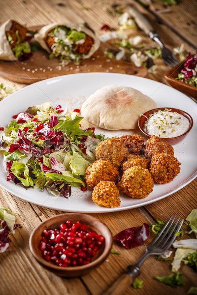 Falafel balls with salad Stock photo © grafvision