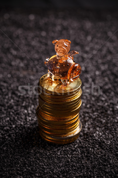 Bitcoin investissement argent sombre Photo stock © grafvision