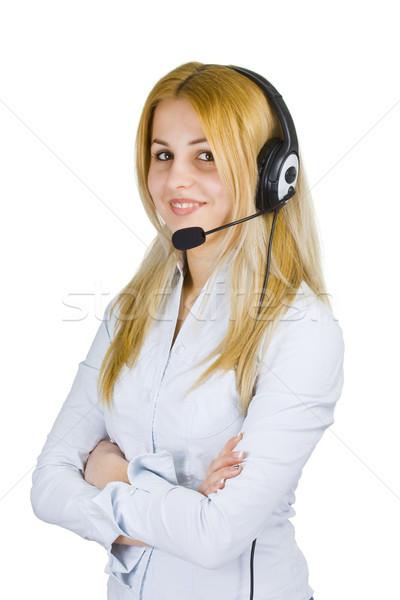 Operatör kadın iş gülümseyen kız Stok fotoğraf © grafvision